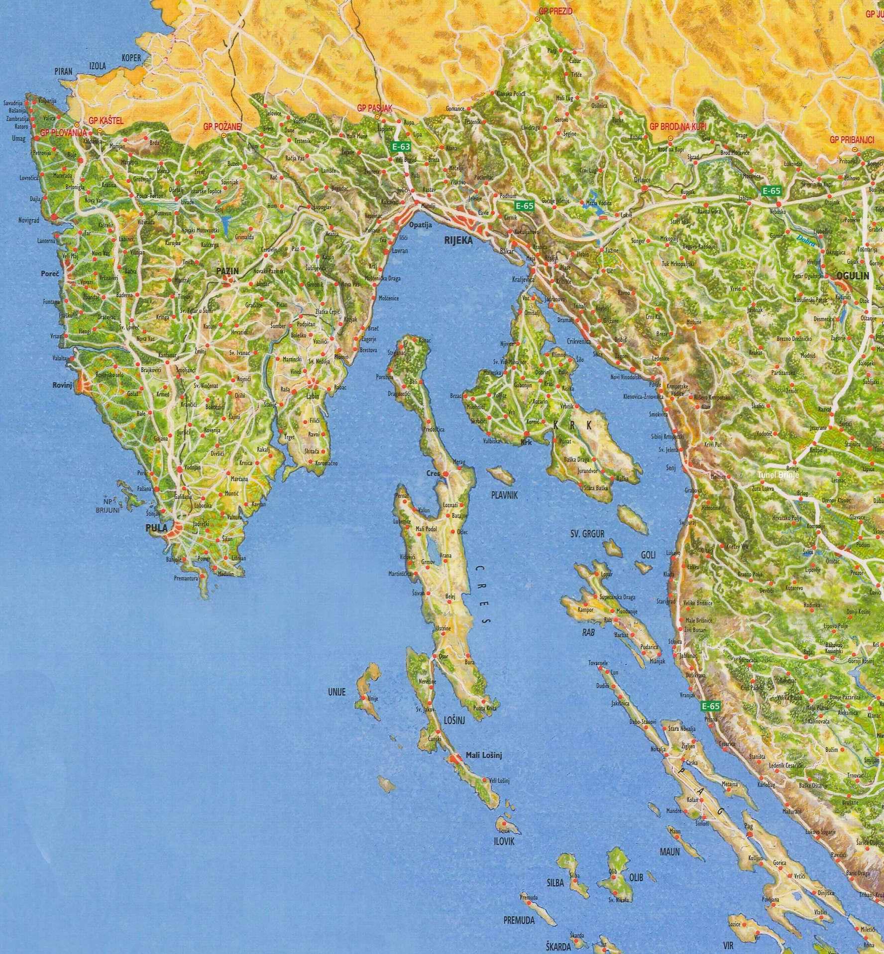 Chorvatsko Mapa Mapa Chorvatska